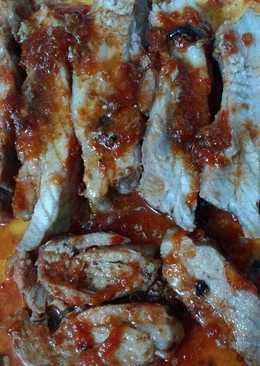 Pechito de cerdo con dulce de tomate