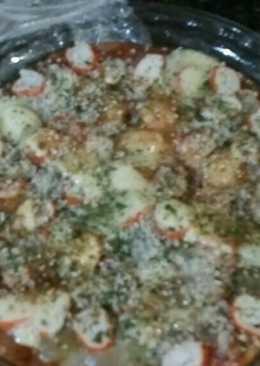 Tarta salada de verduras y surimi