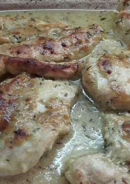 Pollo al horno con salsa de mostaza y miel