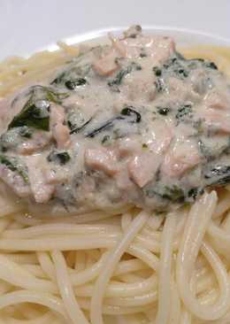 Espaguetis con Salmón y Gambas al Queso