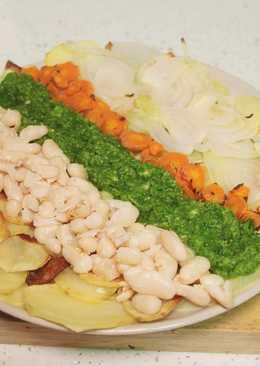 Verduras al horno con salsa de calabacín (vegano)