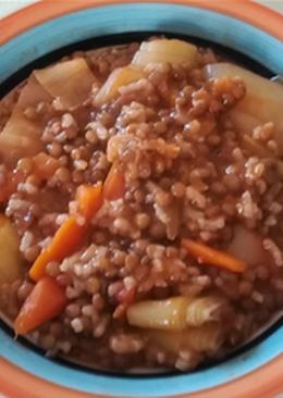 Lentejas vegetarianas con arroz