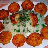 Albóndigas vegetales sobre arroz