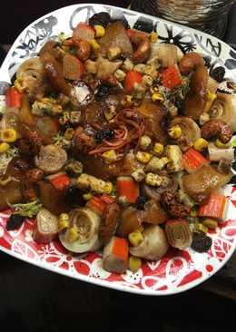 Ensalada de palmitos con cangrejo, manzana caramelizada y anacardos con miel y con vinagre balsámico de Módena