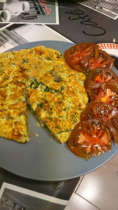 Tortilla de espinaca, brócoli y quesitos