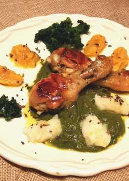 Jamoncitos de pollo sobre puré de col kale y trufa