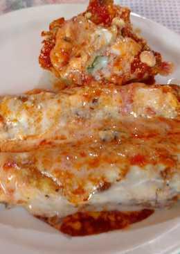 Canelones de pollo y espinaca c/ salsa blanca