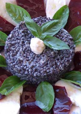 Arroz negro y lentejas caviar en ensalada con mayonesa de albahaca
