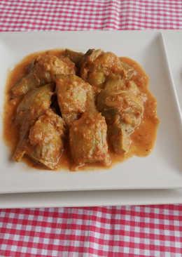 Alcachofas en salsa de almendra