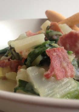 Tándem de verduras con confetti de jamón