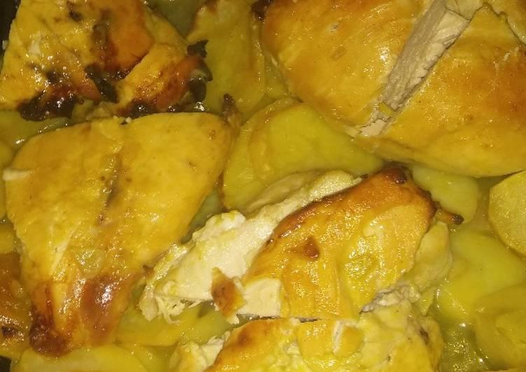 Pollo a la mostaza y miel con papas
