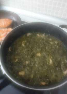 Espinacas/acelgas rehogadas con gambas (menú saludable 1)