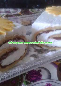 Brazo de gitano relleno de nutella con nata