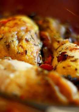 Pollo al horno con champiñones, miel y limón