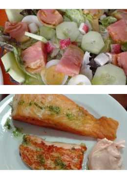 Salmon fresco con ensalada fresca