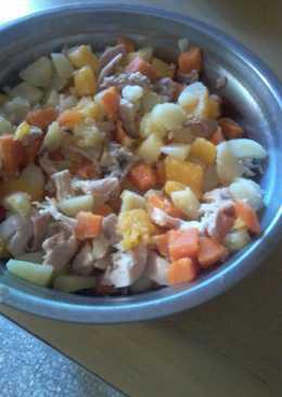 Salpicón de pollo, papa, zanahoria y calabaza