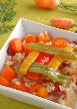 Pastel de zanahorias, arroz y panceta