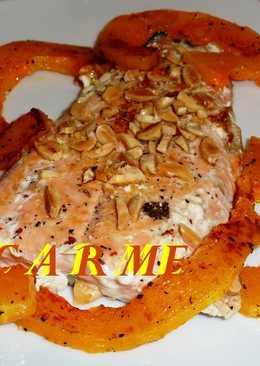 Filete de salmón a la plancha con calabaza
