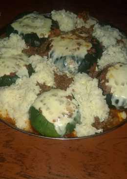 Zapallos rellenos con carne picada y arroz