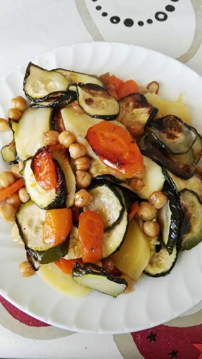 Verduras con garbanzos al horno