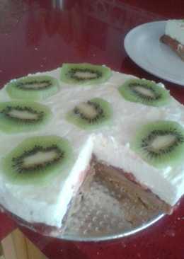Tarta queso con kiwi