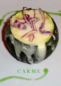 Calabacín relleno de setas y huevo revuelto