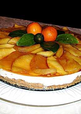 Tarta fresca de queso tradicional con manzanas Golden