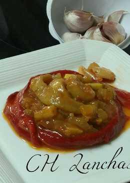 Calamares al curry de apio y ajos morados de Las Pedroñeras