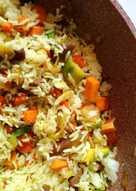 Arroz basmati con verduras salteadas al ras al hanout