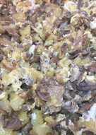 Girgolas (champiñones) revueltas con patatas y huevo
