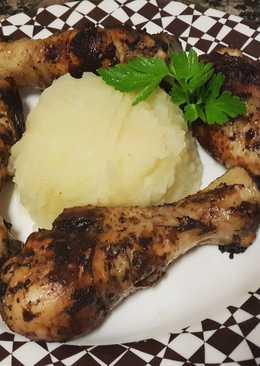 Jamón de pollo a la sartén con pure de patata