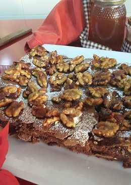 Brownie de chocolate con nueces caramelizadas