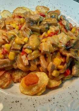 Strogonoff de pollo a la mostaza