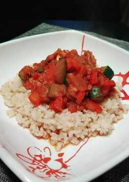 Arroz integral con verduras y soja texturizada