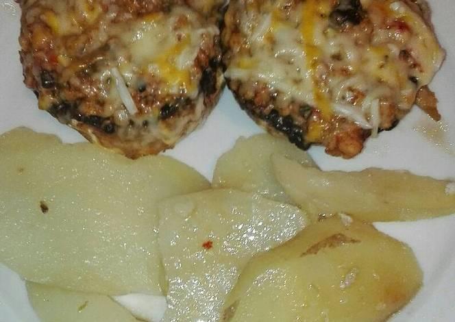 Champi ones rellenos de pechuga de pollo picante con for Pechugas de pollo al horno con patatas