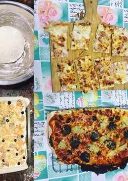 Pizza casera blanca y tradicional
