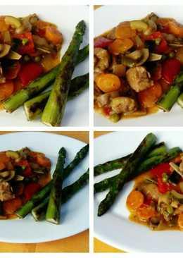 Solomillo al chilindrón, verduras frescas y espárragos plancha