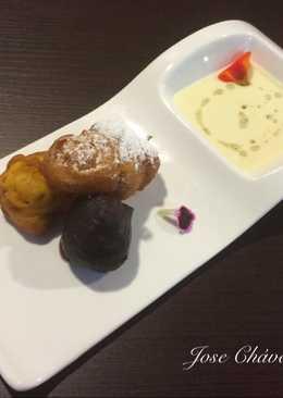 Buñuelos de Calabaza y Parchita con sopa de Chocolate fría