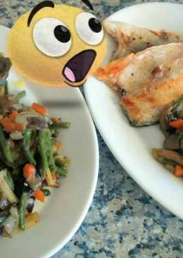 Lubina fresca a la plancha con verduras salteadas al wok!!