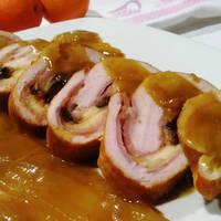 Pavo relleno con ciruelas y manzana glaseado con miel y naranja