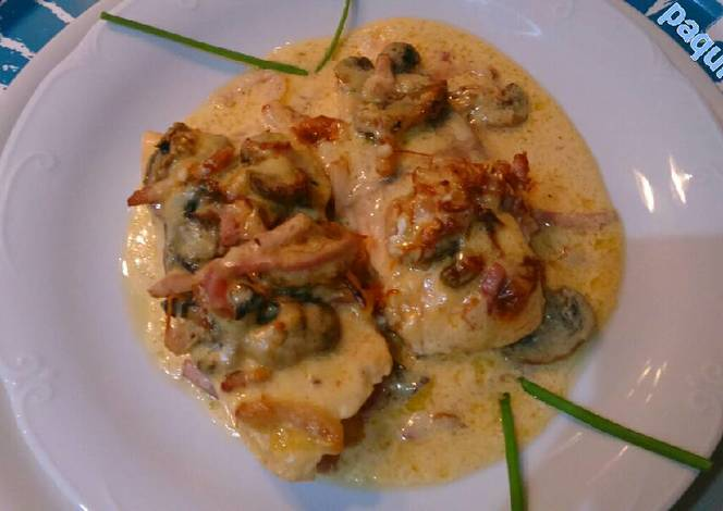 Salm n al horno con champi ones y beicon receta de paqui - Salmon con champinones ...