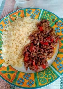 Cuscus con carne picada y verduras con miel y vinagre balsámico de módena