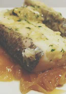 Lomos de Bacalao con Cebolla Caramelizada