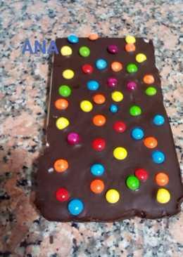 Turrón de chocolate con lentejas de chocolate