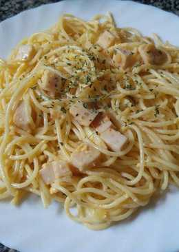 Espaguetis con fiambre de pavo