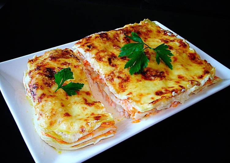 Lasa a con zanahorias y bechamel a la mozzarella receta de - Bechamel con nata para cocinar ...