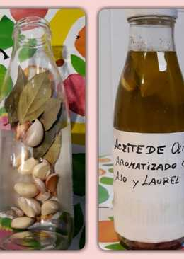 Aceite de oliva aromatizado con ajo y laurel (infusión saludable