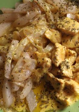 Pollo con salsa de vino y nata al cardamomo