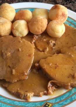 Redondo de ternera asado, y patatas duquesas