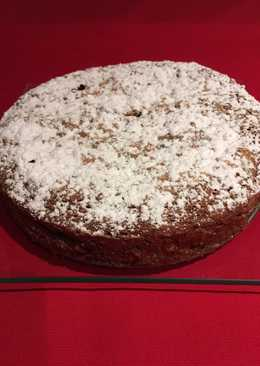 Tarta de brownie de café, nueces y chocolate blanco